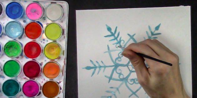 Как нарисовать снежинку: нарисуйте завитки