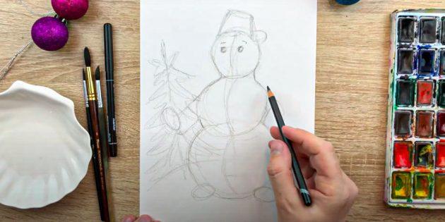 Наденьте на голову снеговика ведро