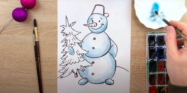Раскрасьте снеговика голубым