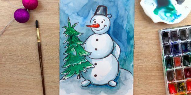 Как нарисовать снеговика: заполните фон