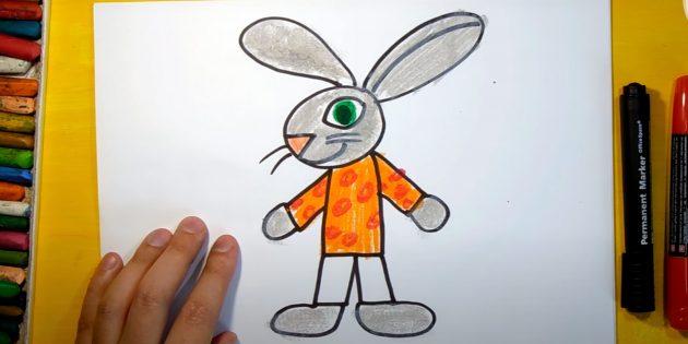 Как нарисовать зайца: раскрасьте тело и руки