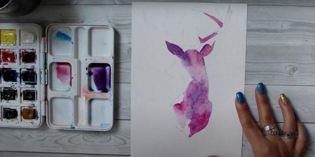 Размойте краски на бумаге