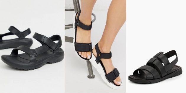 Элементы стиля горпкор: сандалии на липучках