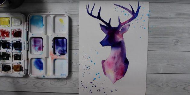Как рисовать силуэт оленя