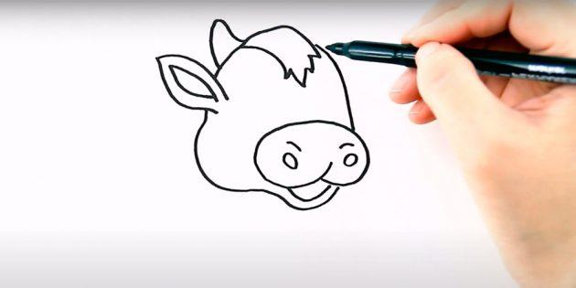 Как нарисовать бычка: нарисуйте ухо и рог