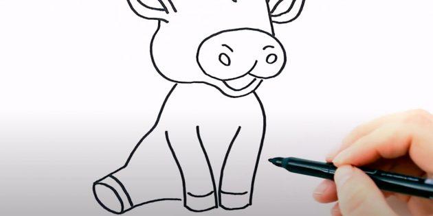 Как нарисовать бычка: нарисуйте передние ноги