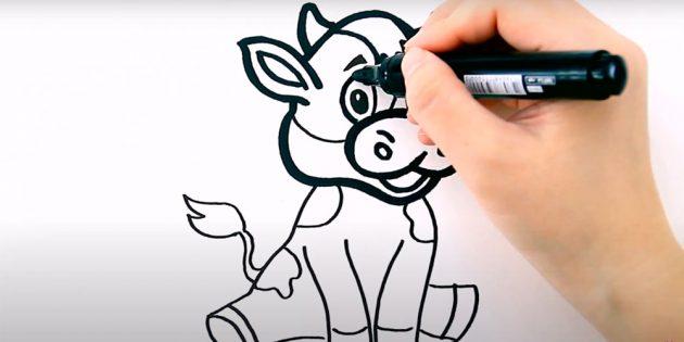 Как нарисовать бычка: обведите маркером