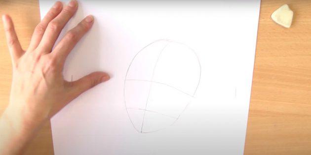 Как нарисовать Снегурочку: нарисуйте яйцо и разделите на части