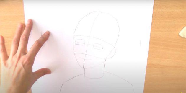 Как нарисовать Снегурочку: наметьте лицо и плечи