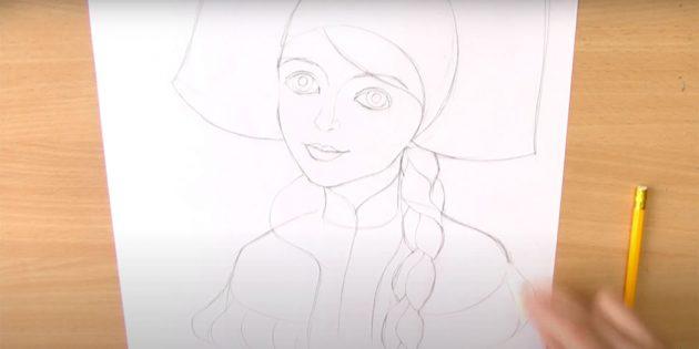 Как нарисовать Снегурочку: наметьте кокошник, волосы и шубку
