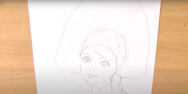 Как нарисовать Снегурочку: дорисуйте ресницы, волосы и шапочку