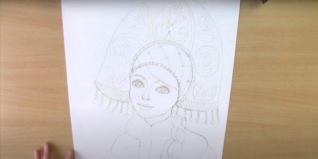 Как нарисовать Снегурочку: распишите кокошник орнаментом