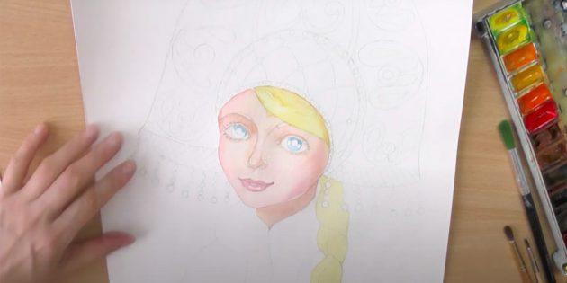 Как нарисовать Снегурочку: создайте тени на лице и шее