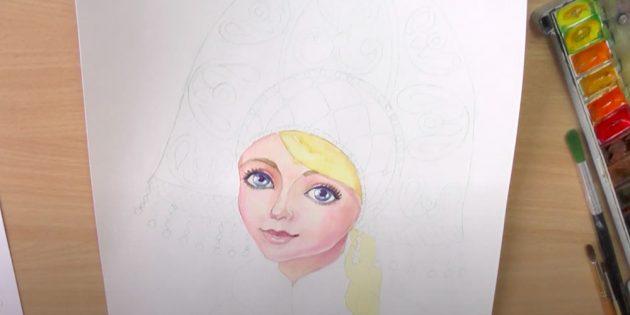 Как нарисовать Снегурочку: прорисуйте лицо