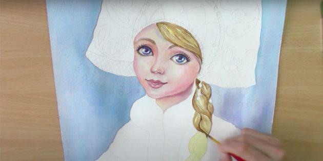 Как нарисовать Снегурочку: закрасьте фон и проработайте волосы
