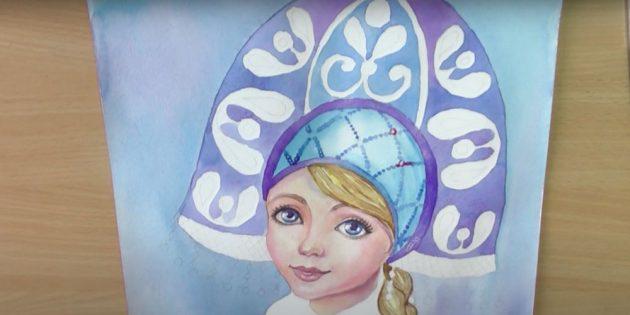 Как нарисовать Снегурочку: раскрасьте кокошник и шапочку