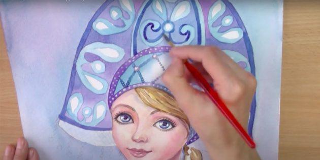 Как нарисовать Снегурочку: проработайте детали