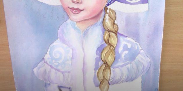 Как нарисовать Снегурочку: раскрасьте шубку