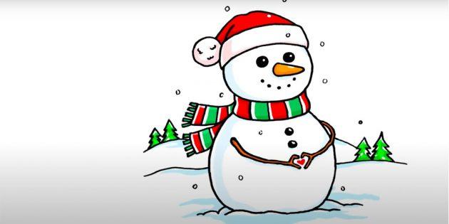 Как нарисовать снеговика: снеговик в шапочке