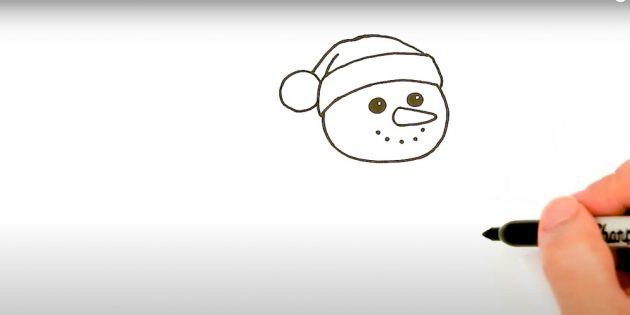 Как нарисовать снеговика: нарисуйте шапочку
