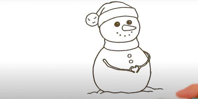 Как нарисовать снеговика: добавьте руки