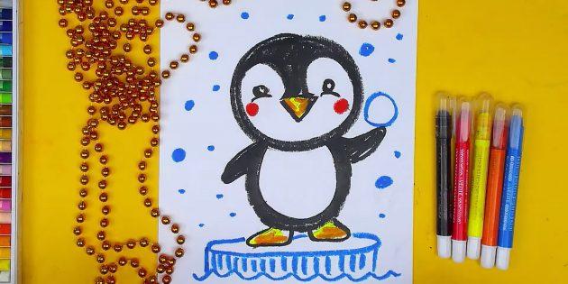 Как нарисовать мультяшного стоящего пингвина