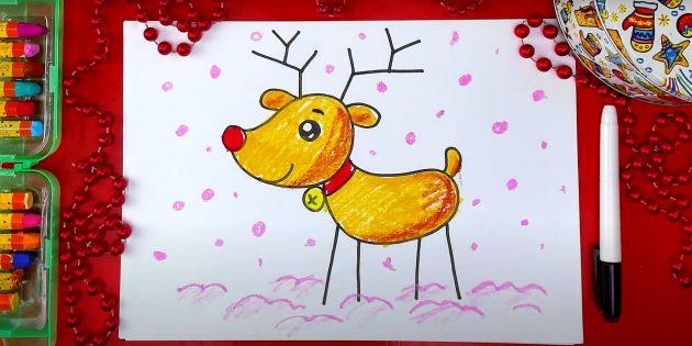Как нарисовать стоящего оленя в мультяшном стиле