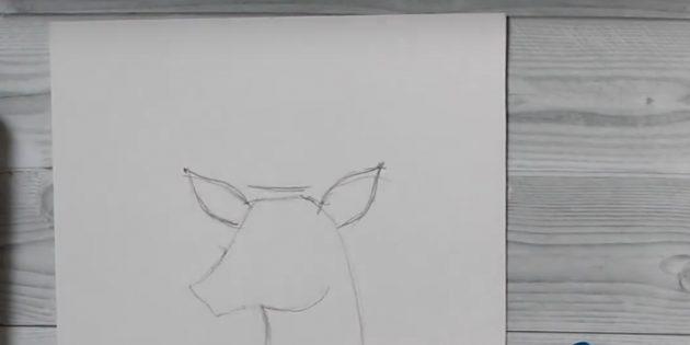 Как рисовать оленя: нарисуйте ушки