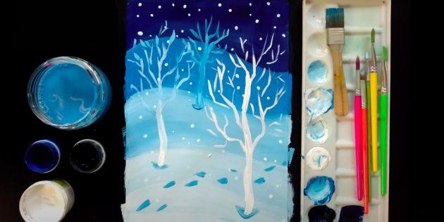 Как нарисовать зиму в лесу