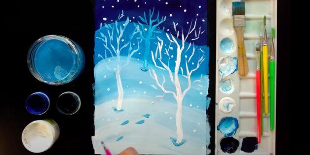 Как нарисовать зиму: добавьте снежинки и следы