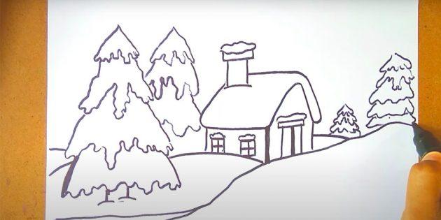 Как нарисовать зимний пейзаж: добавьте ёлки