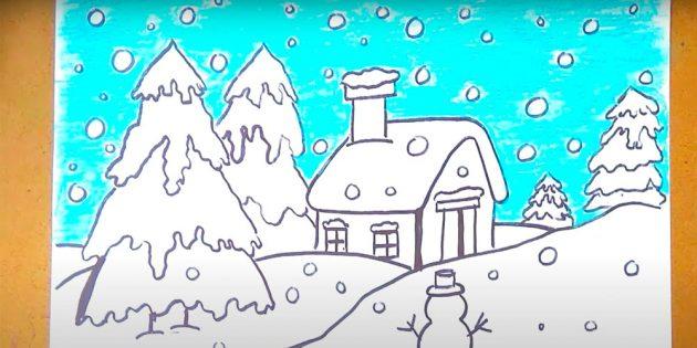 Как нарисовать зимний пейзаж: закрасьте фон
