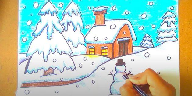Как нарисовать зимний пейзаж: добавьте тени и свет