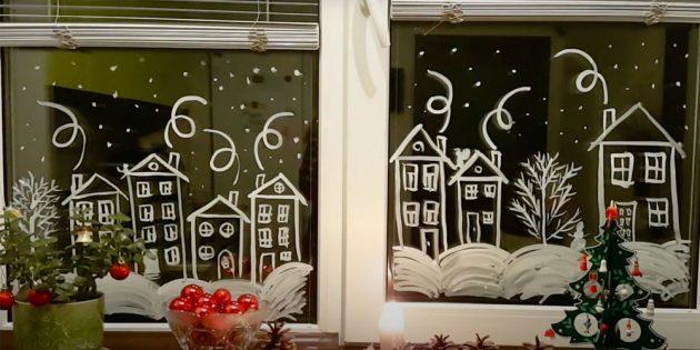 Как украсить окна к Новому году: рисунки на стекле