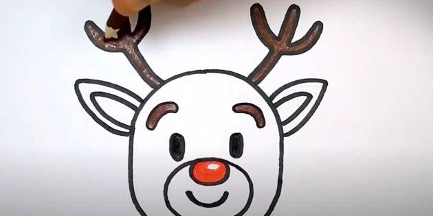Как нарисовать оленя: закрасьте нос, брови, глаза и рога