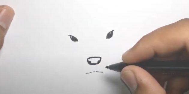 Как нарисовать оленя: закрасьте глаза и нарисуйте рот