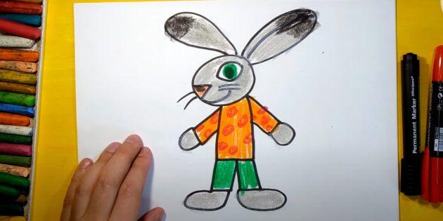 Как нарисовать зайца: закрасьте кончики ушей