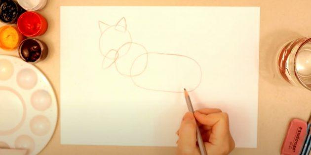 Как нарисовать лису: Нарисуйте овал