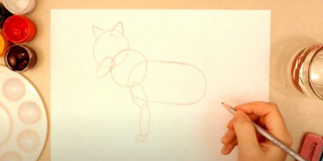 Как нарисовать лису: Обозначьте переднюю лапу