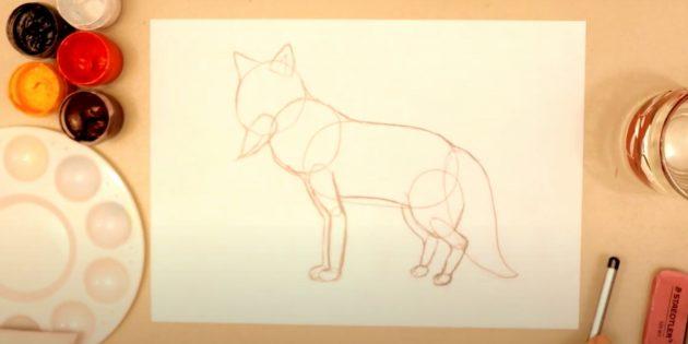Как нарисовать лису: Детализируйте набросок