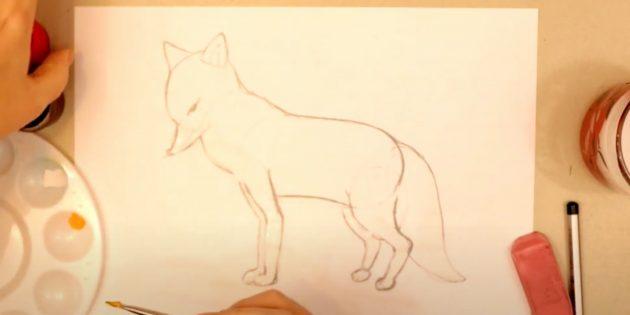 Как нарисовать лису: Обозначьте белые участки