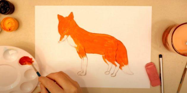 Как нарисовать лису: Закрасьте лису