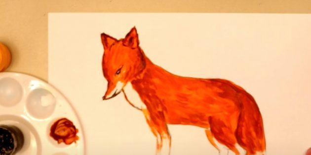 Как нарисовать лису: Нарисуйте нос, глаза и рот