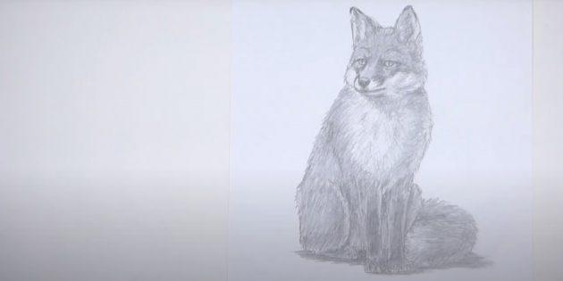 Сидящая реалистичная лиса