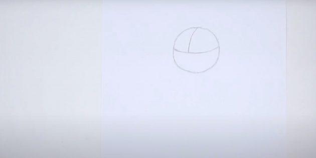 Как нарисовать лису: Проведите две линии