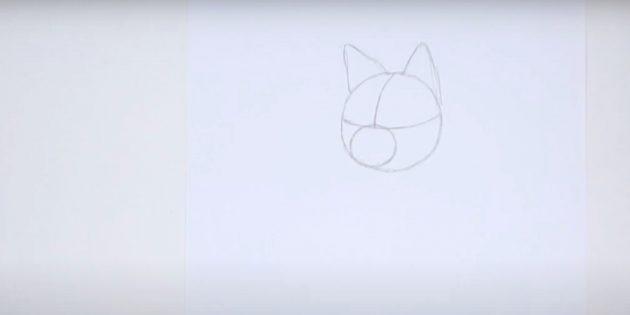Как нарисовать лису: Обозначьте уши