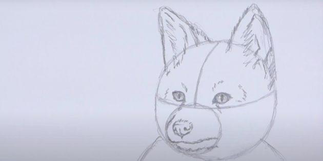 Как нарисовать лису: Нарисуйте шерсть на ушах