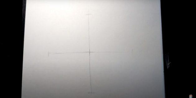 Как нарисовать лису: Сделайте две линии