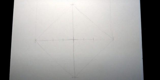 Как нарисовать лису: Определите, где будут глаза