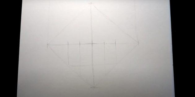 Как нарисовать лису: Нарисуйте линии